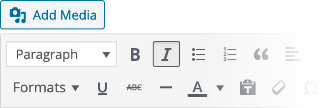 WYSIWYG Settings Reference for Italic Text Inline Style