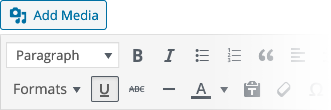 WYSIWYG Settings Reference for Underline Text Inline Style